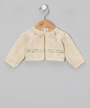 Tan Flower Crocheted Cardigan - Infant & Girls