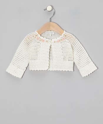 Off-White Flower Crocheted Cardigan - Infant, Toddler & Girls