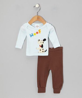 Aqua 'Woof' Tee & Brown Pants - Infant