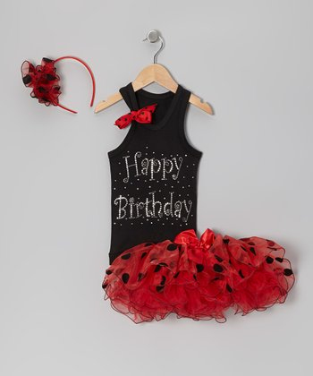 Black & Red 'Happy Birthday' Rhinestone Tutu Set - Infant, Toddler & Girls