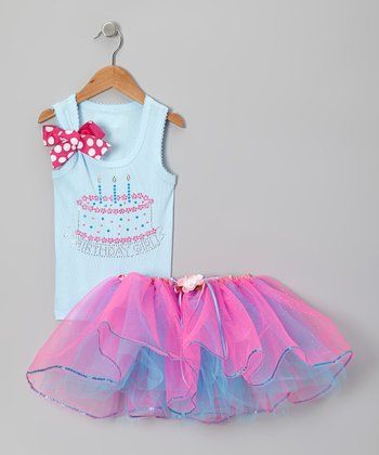 Light Blue Three Candles Rhinestone Tank & Tutu - Toddler & Girls