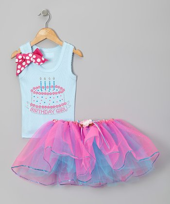 Light Blue Four Candles Rhinestone Tank & Pink Tutu - Girls