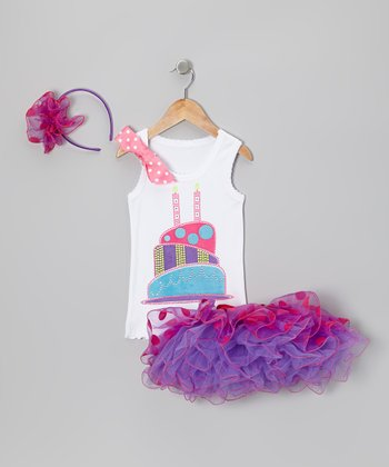 Purple 2 Candles Polka Dot Tutu Set - Toddler & Girls