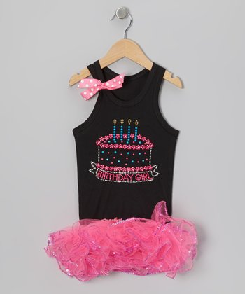 Black Birthday Girl 4 Stud Tank & Pink Tutu - Girls