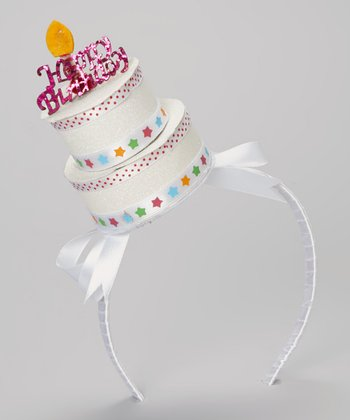 White Birthday Cake Headband