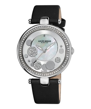 Black Diamond & Stainless Steel Leather Sunray Watch