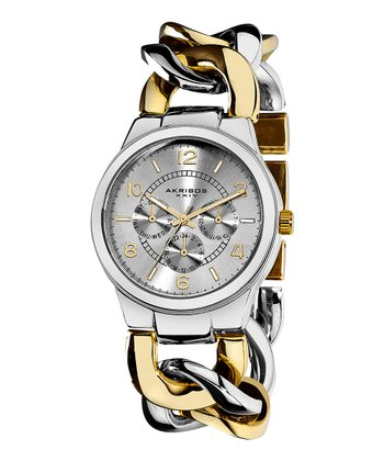 Gold & Silver Twist Chain Multifunction Watch