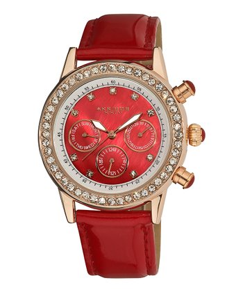 Red Crystal Multifunction Dazzling Strap Watch