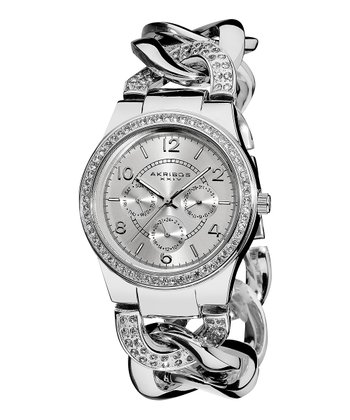 Silver Crystal Multifunction Twist Chain Watch