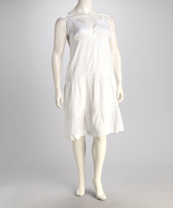 White Button V-Neck Dress - Plus