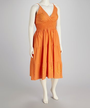 Orange Beaded Plus-Size Empire Waist Dress