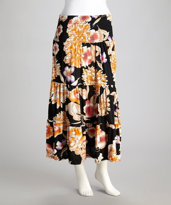 Black Floral Shirred Maxi Skirt