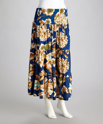 Blue Floral Shirred Maxi Skirt