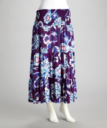 Purple Floral Shirred Maxi Skirt