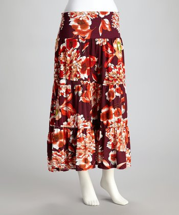 Red Floral Shirred Maxi Skirt