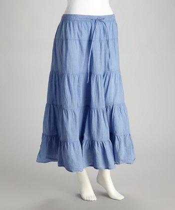 Blue Peasant Maxi Skirt