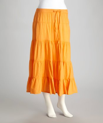 Orange Peasant Maxi Skirt