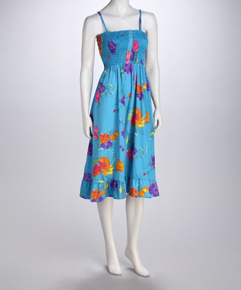 Blue Bold Bloom Button-Up Smocked Dress