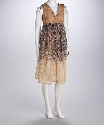 Beige Paisley Empire-Waist Dress