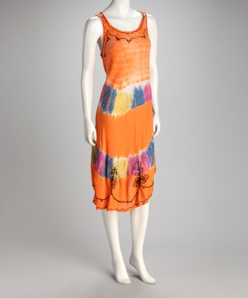 Orange Tie-Dye Shift Dress