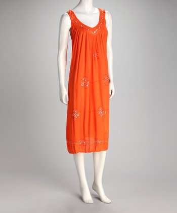 Orange Sequin Embroidered Shift Dress