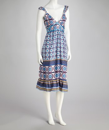 Blue & White Circle Dress