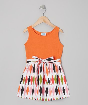 Orange Diamonds Sash-Tie Dress - Infant, Toddler & Girls