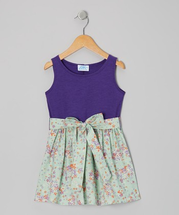 Purple & Sea Foam Floral Sash-Tie Dress - Toddler & Girls