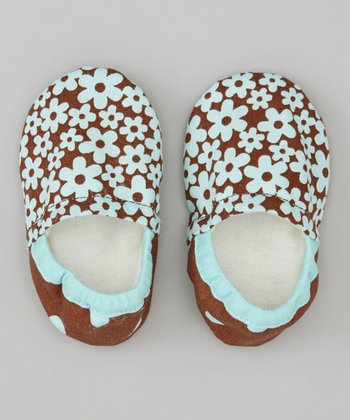 Aqua & Brown Blossom Booties