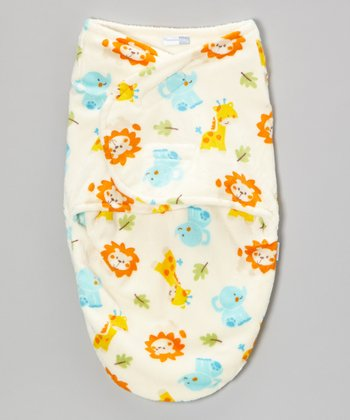Ivory Jungle Animals Swaddle Blanket