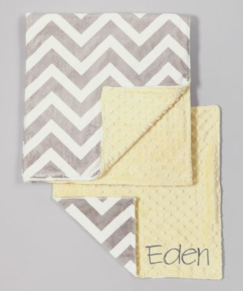 Yellow & Silver Zigzag Personalized Minky Security Blanket Set