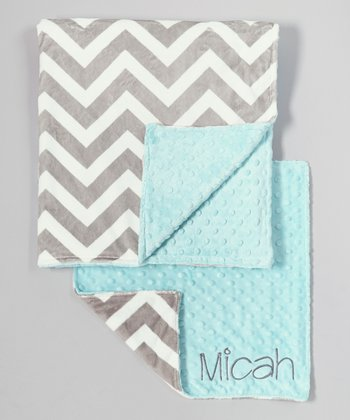Tiffany & Silver Zigzag Personalized Minky Security Blanket Set