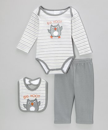 Gray 'Big Hoot' Owl Bodysuit Set - Infant