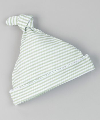 Mint Sweet Stripe Single-Knot Beanie - Infant