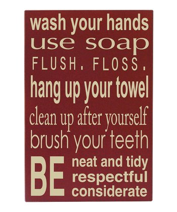 Barn Red 'Bathroom Rules' Wall Art