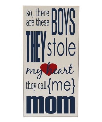 Cream & Navy Boys Stole My Heart Wall Art