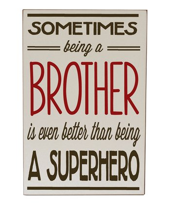 Cream & Brown Brother Superhero Wall Art