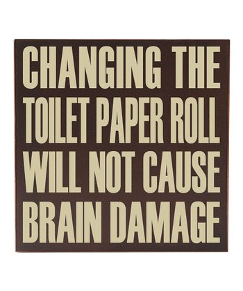 Brown & Cream 'Changing the Toilet Paper' Wall Art