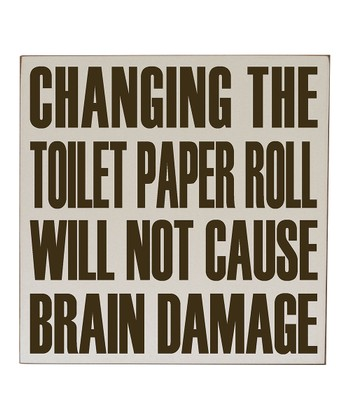 Cream & Brown 'Changing the Toilet Paper' Wall Art
