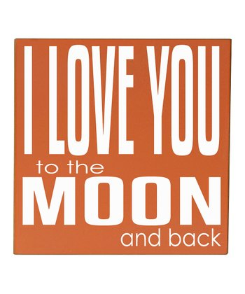 Orange & White 'Love You to the Moon' Wall Art