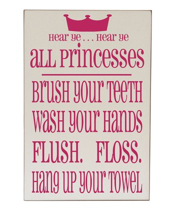 Cream & Pink Princess Bathroom Wall Art