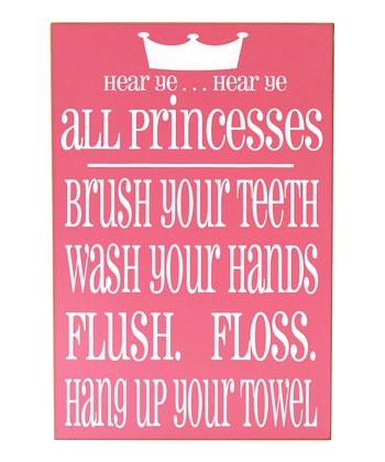 Pink & White Princess Bathroom Rules Wall Art