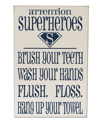 Cream & Navy Super Hero Bathroom Wall Art