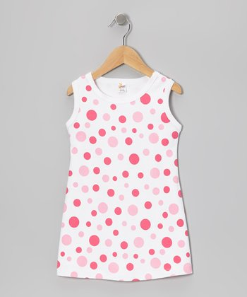 White & Pink Dot Shift Dress - Infant, Toddler & Girls