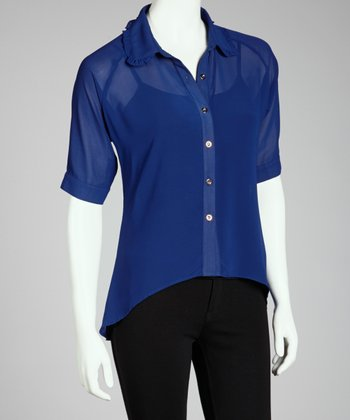 Blue Hi-Low Button-Up Top