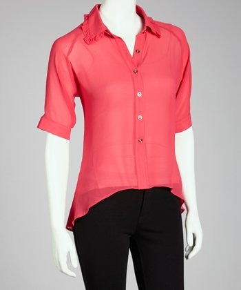 Fuchsia Hi-Low Button-Up Top