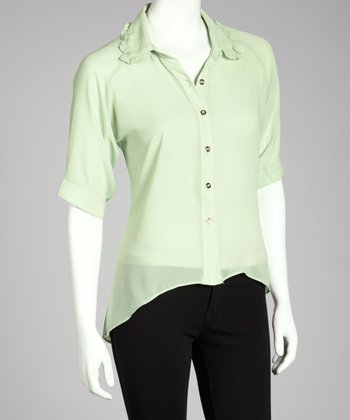 Mint Hi-Low Button-Up Top