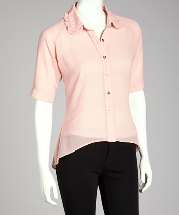 Pink Hi-Low Button-Up Top
