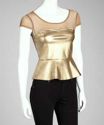 Gold Peplum Top
