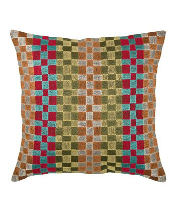 Yellow & Red Squares Pillow